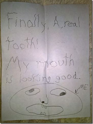 Tooth Monster note with self-portrait