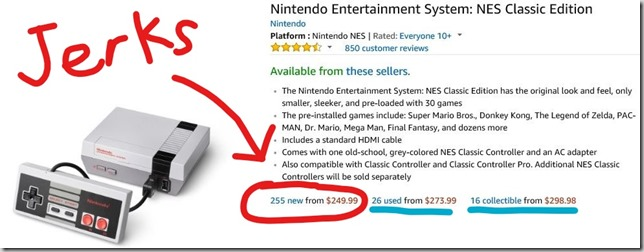 NES classic resellers